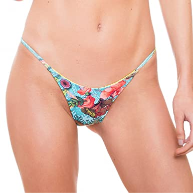 ed86138e44b Amazon.com: String Brazilian Bikini Bottoms Reversible Cheeky Swimsuit half thong  swimwear (Medium): Clothing