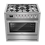 "Empava 36"" Slide-In Single Oven Gas Range with 5"