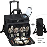 Picnic at Ascot Original Equipped Cooler on Wheels for 4 - Extra Wine Tote - Designed and Assembled in California - London Plaid