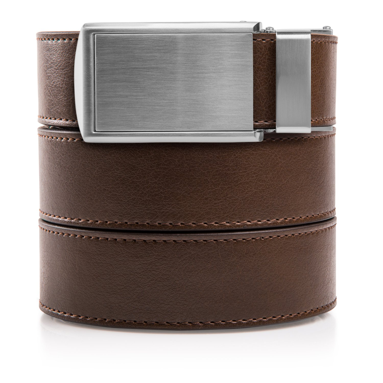 SlideBelts Men's Vegan Leather Belt without Holes - Silver Buckle/Mocha Brown Leather (Trim-to-fit: Up to 48'' Waist)…