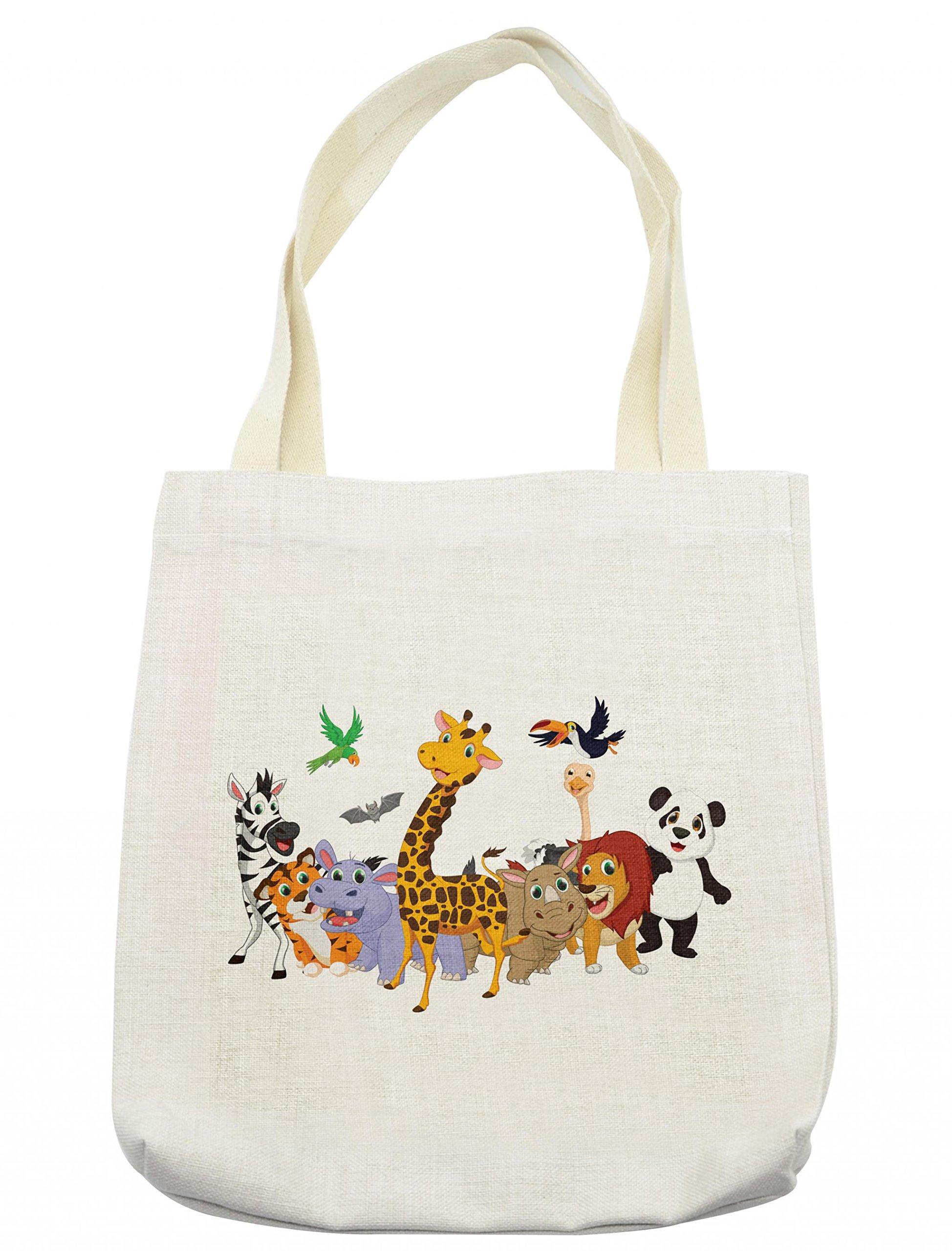 Lunarable Animals Tote Bag, Colorful Jungle Animals Hippo Bat Parrot Giraffe Rhino Panda Safari Theme African, Cloth Linen Reusable Bag for Shopping Groceries Books Beach Travel & More, Cream