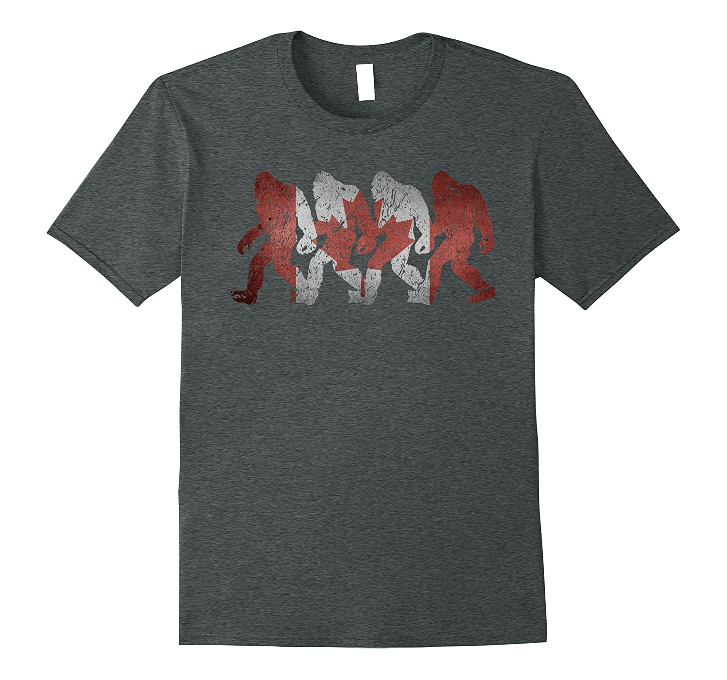 Canadian Flag Bigfoot Sasquatch Silhouettes Epic T-shirt Eh-CD