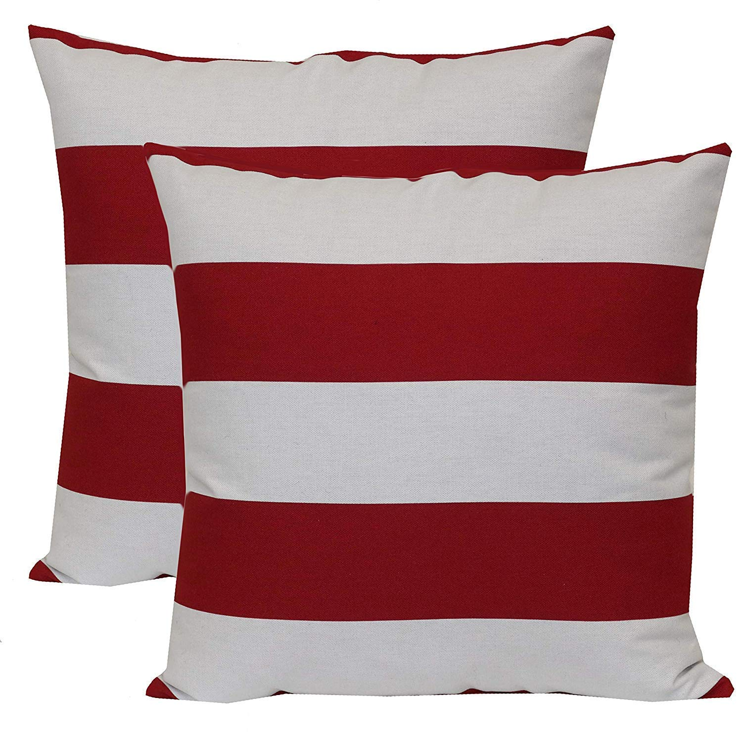 Mainstay* Patio Three Person Forest Hills Steel Porch Swing Plush Cushions in Red Stripe w// 16 x 16 Outdoor Toss Pillow Balboa Stripe Set of 2 Bundle Set