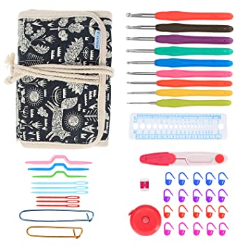 Teamoy Crochet Hooks Gift Set, organizador de envoltura de lona con agujas de ganchillo de agarre suave y accesorios de punto, Animal World: Amazon.es: ...