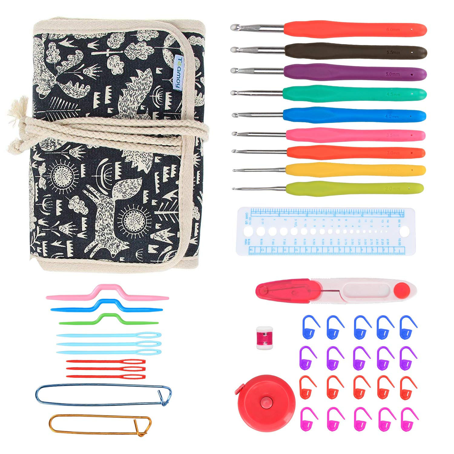 Teamoy Ergonomic Crochet Hooks Set, Crochet kit with 9pcs 2mm to 6mm Rubber Grip Needles and Accessories, Perfect Size for Quick Grab-and-Go