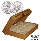 25 Direct Fit Airtight 40.6mm 40mm Coin Holders Capsule For 1oz AMERICAN SLVER EAGLE with BOX