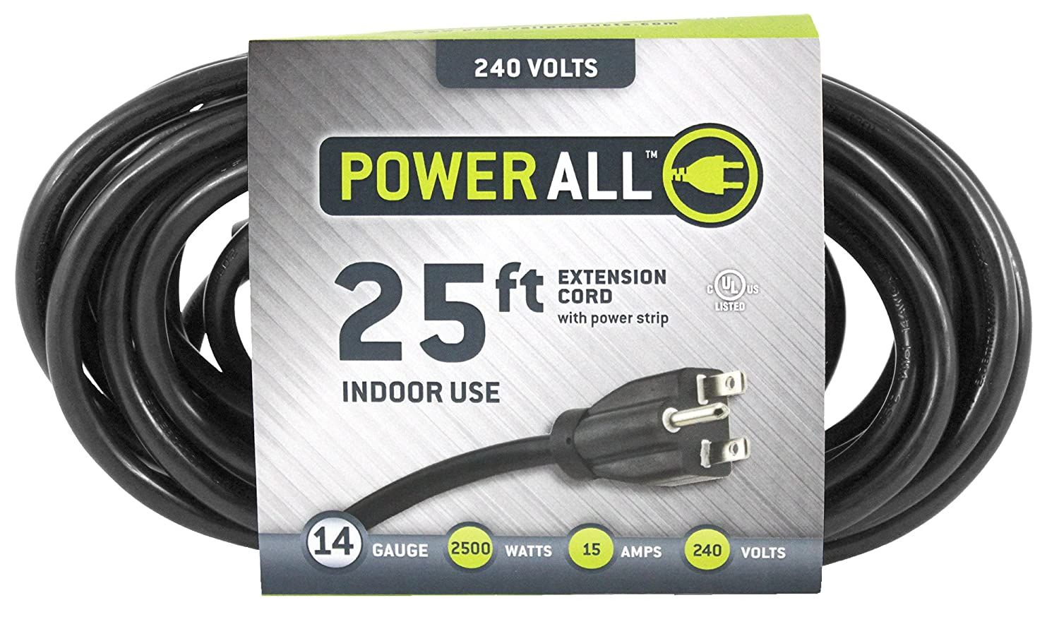 Power All – Extension Cord – 3 Outlets – 240V 25 ft. 14 Gauge – Moisture Resistant, Flexible, and Durable for Indoor Use