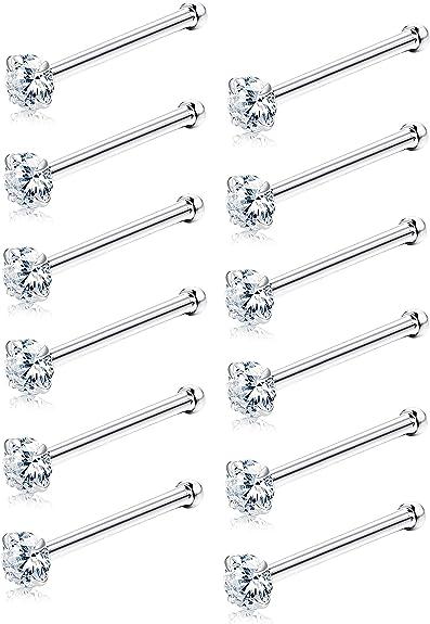 11 pcs 20G 8 mm Long Surgical Steel 2 mm Mix Color CZ Nose Bone Ear Tragus Stud