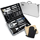 29 Piece BBQ Tools Set - Barbecue Accessories With Carrying Case - Professional Grade Stainless Steel Grill Utensils - Spatulas, Tongs, Forks Skewers, Knives, Brushes and More - by Vysta