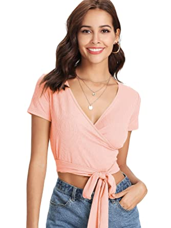 9689e1fb3019f ROMWE Women s Sexy Deep V Neck Surplice Knot Front Wrap Tee Short Sleeve  Solid Crop Top