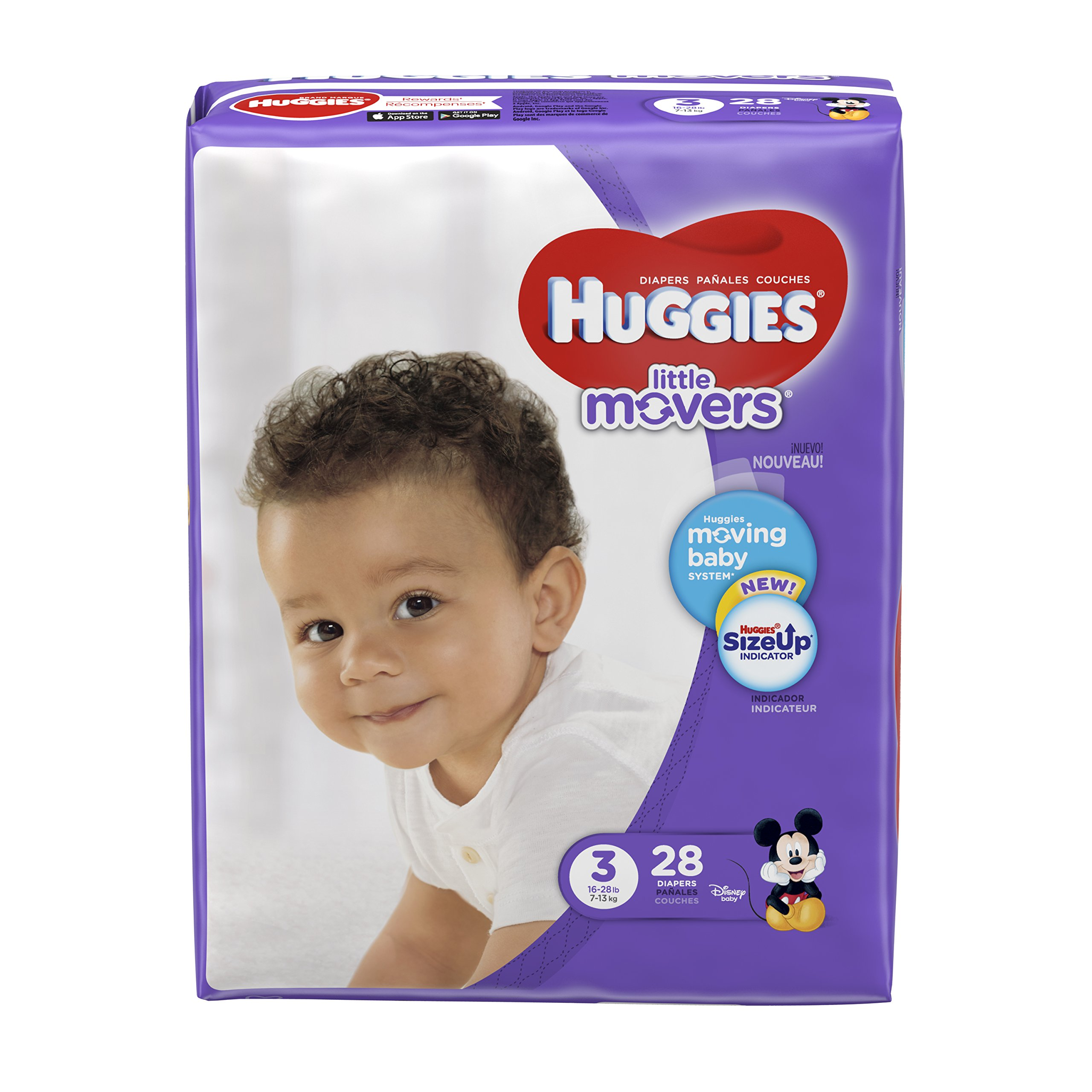 HUGGIES LITTLE MOVERS Diapers, Size 3 (16-28 lb.), 28