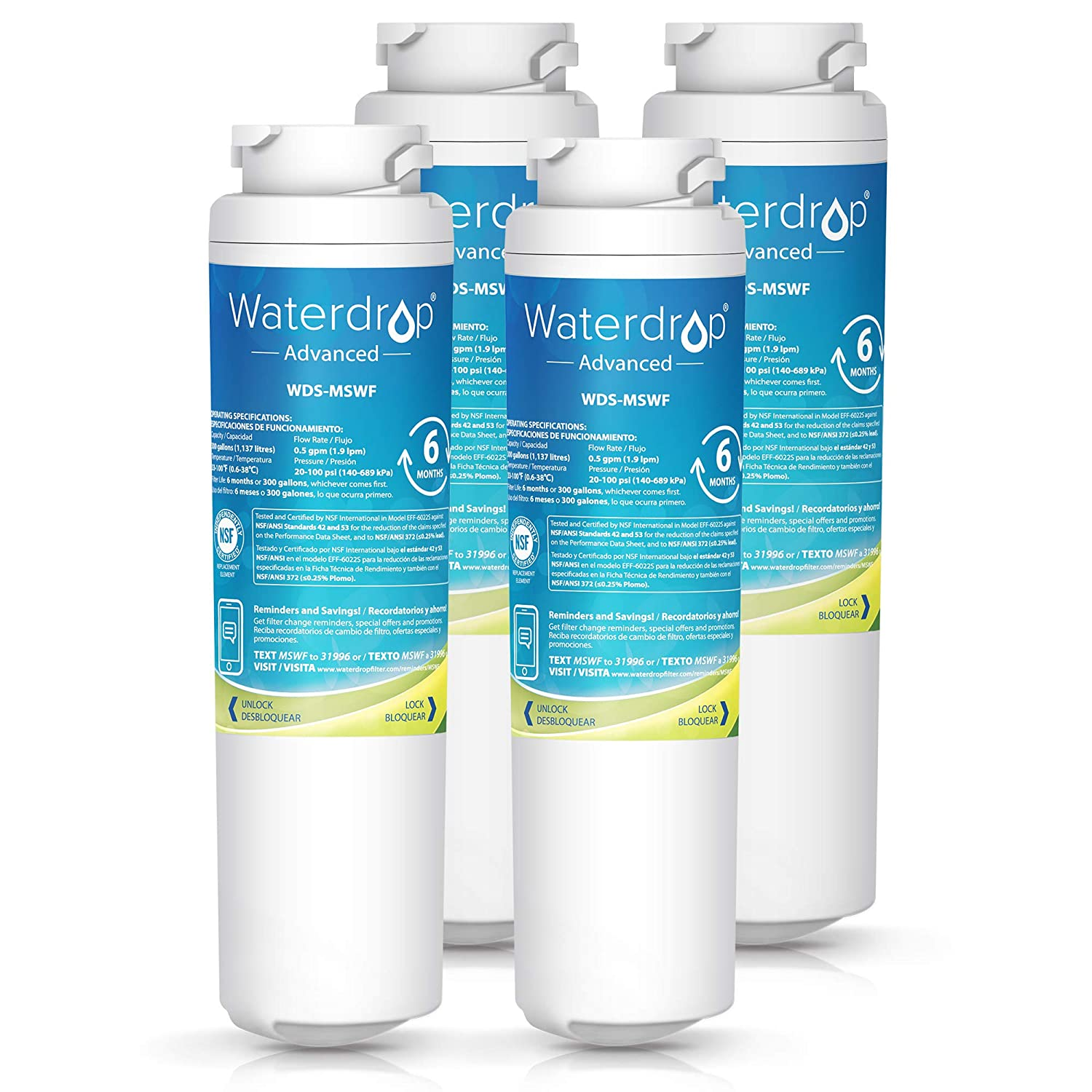 Waterdrop Refrigerator Water Filter -Compatible with GE MSWF, 101820A, 101821B, 101821-B -NSF 53&42 Certified Reduces Lead, Cyst and More, Pack of 4