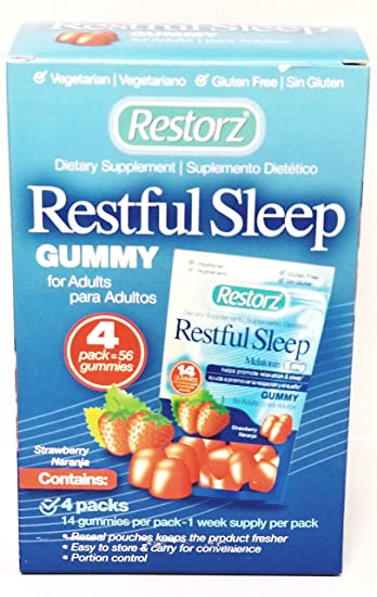 Restorz Restful Sleep Gummies with 5mg Melatonin Promotes Relaxation and Supports a Healthy...