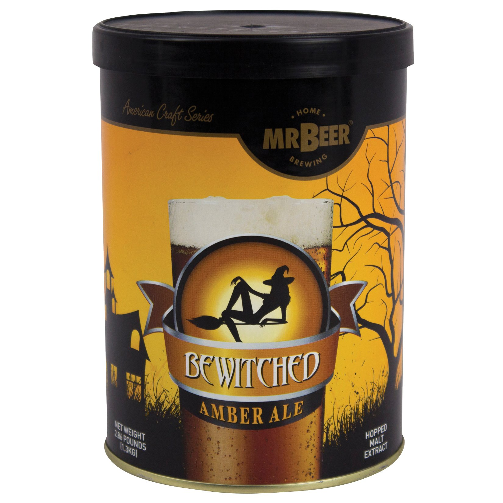 Mr. Beer Bewitched Amber Ale 2 Gallon Homebrewing Craft Beer Making Refill Kit with Sanitizer, Yeast and All Grain Brewing Extract