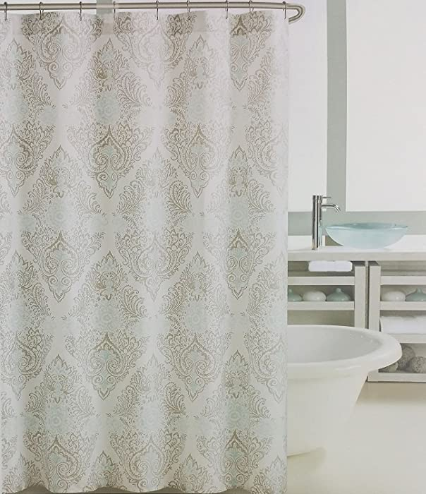 Tahari Fabric Shower Curtain Vintage Medallion Tan Turquoise