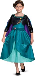 Disney Frozen 2 Anna Costume for Girls, Classic Dress and Cape Outfit, Toddler Size Small (2T), Child XX Small