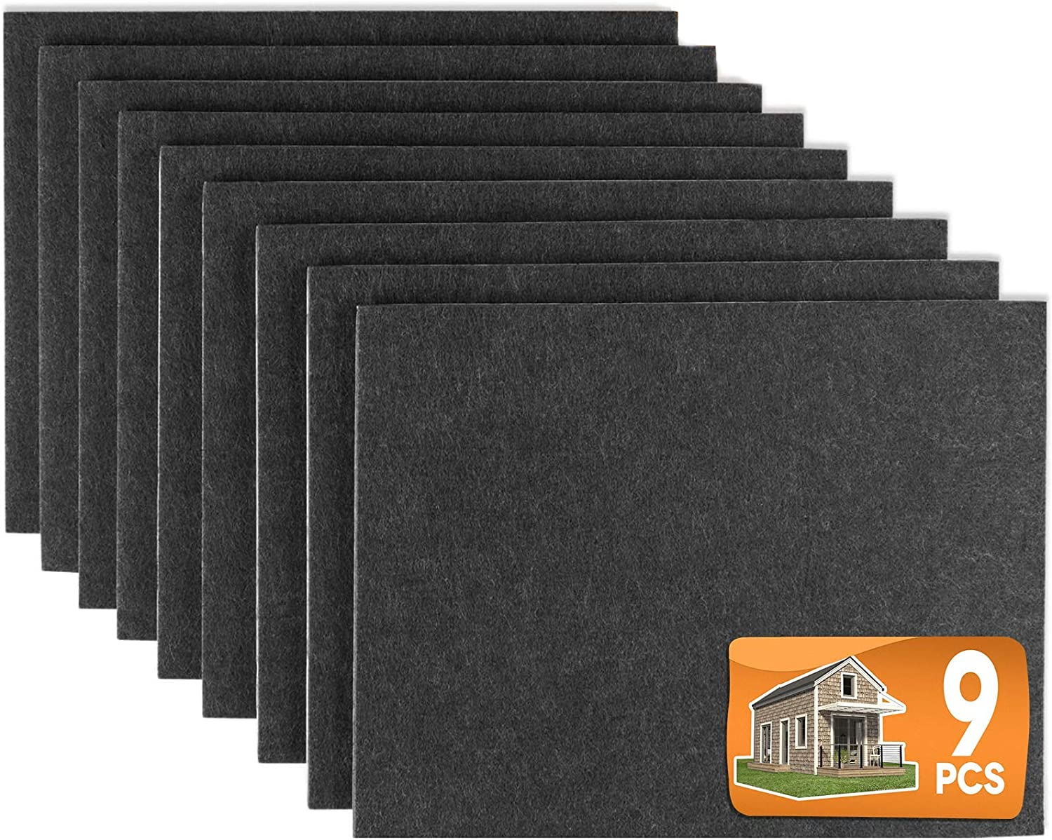 "Furniture Pads 9 Pieces 8"" x 6"" x 1/5"" Furniture Felt Pads Self Adhesive, Cuttable Felt Chair Pads, Anti Scratch Floor Protectors for Furniture Legs Hardwood Floor, Black"