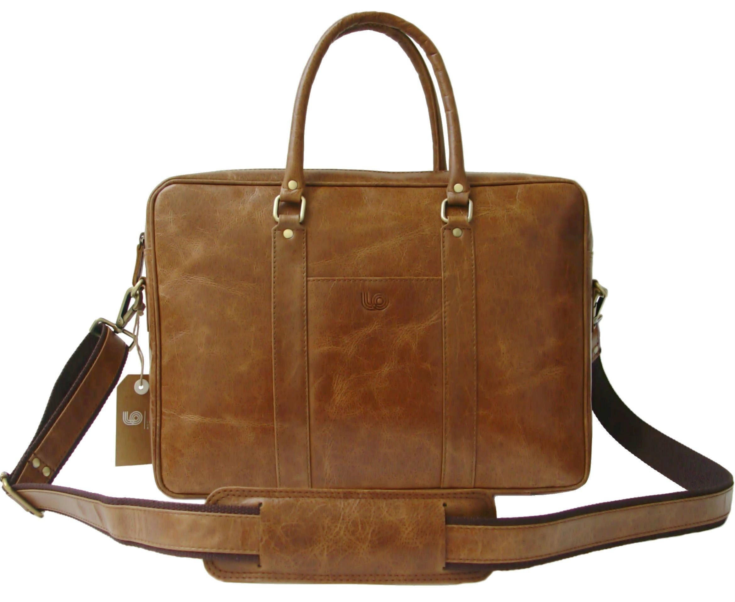 Leftover Studio Soft Slim Briefcase Laptop Messenger Bag Stachel Handcrafted in Rustic Vintage Look Leather
