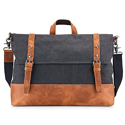 f335601711ae Amazon.com: Canvas and Leather Messenger Bag,RUFFRYDER 16.3 inch ...