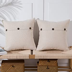 Anickal Cream White Pillow Covers 18x18 Inch with Triple Buttons Set of 2 Chenille Rustic Farmhouse Decorative Throw Pillow Covers Square Cushion Case for Home Couch Sofa Decoration