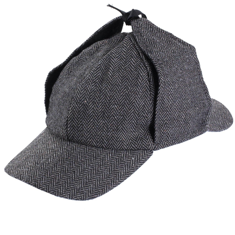 8ce06da79ad Amazon.com  Funny Party Hats Sherlock Holmes Hat - Detective Hat - Deerstalker  Hat - Tweed Sherlock Holmes Hat  Clothing