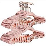 SONGMICS UCRF14PK24 Lot de 24 cintres antidérapants avec pinces en or rose, rose clair