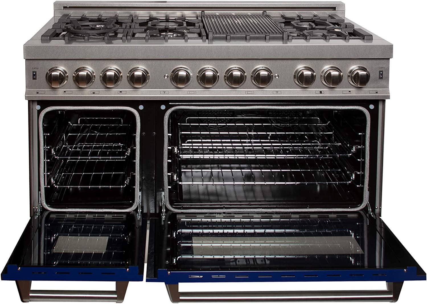 RAS-BG-48 ZLINE 48 in Professional Dual Fuel Range in Snow Stainless with Blue Gloss Door