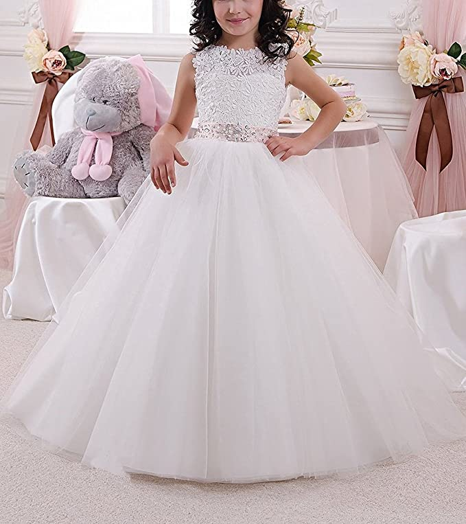 Amazon.com: QueenDress Elegant Long Flower Girl Dress Lace Beading Tulle Ball Gowns YU0072: Clothing