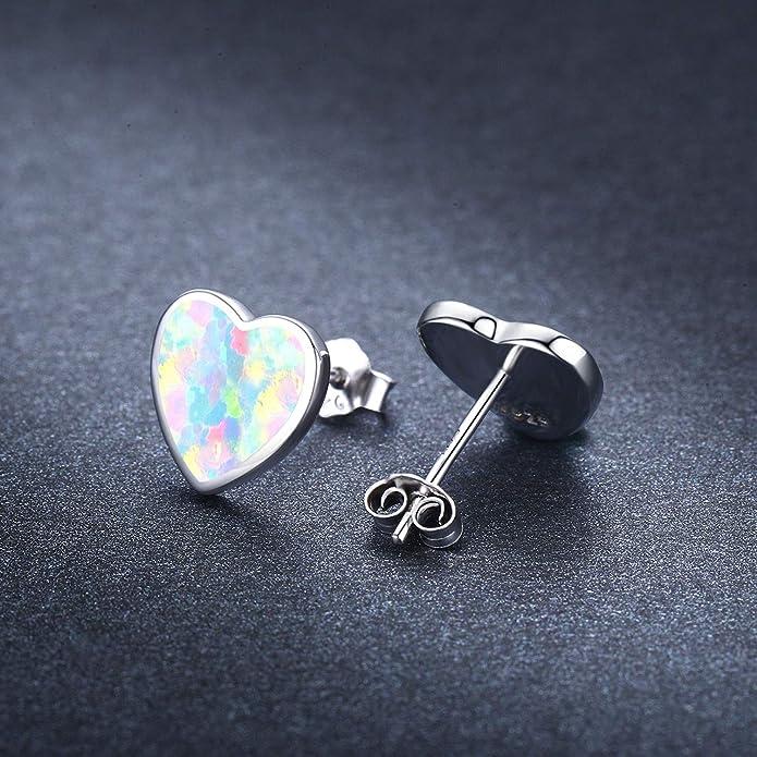 Kinder Ohrringe Herz Blau 925 Silber Mädchen Ohrstecker 623