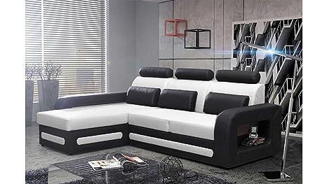 Divano Nero E Bianco : Justhome bergamo mini divano angolare divano letto finta pelle