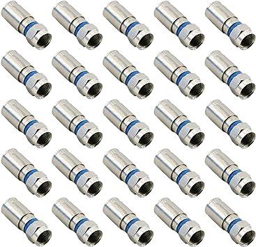 50 x RG6 F Coax Coaxial Compression F Connectors Satellite Cable TV