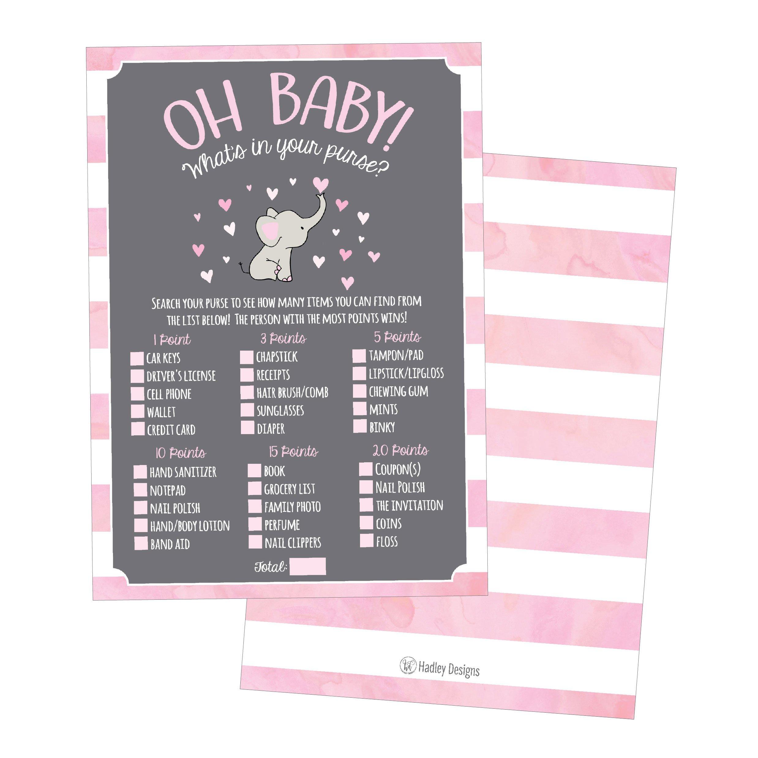 25 Pink Elephant What's In Your Purse Baby Shower Game, Funny Idea Coed Couples Game For Baby Party, Fun Woodland Themed Bundle Pack of Cards To Play at Boy or Girl Gender Decoration and Supplies