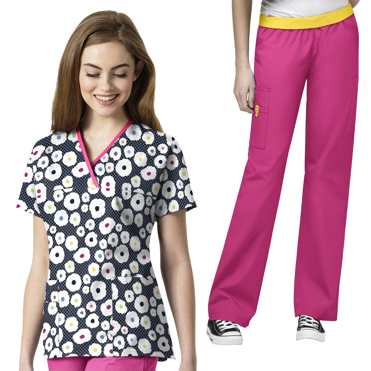 Wonderwink Women's Origins Y-neck Mock PRINT Scrub Top & The Quebec Pant Scrub set [XXS - 5XL]+ FREE GIFT