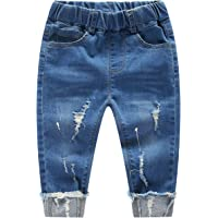 82b35fbcece57 Kidscool Baby & Little Boys/Girls Elastic Waist Ripped Denim Jeans Pants