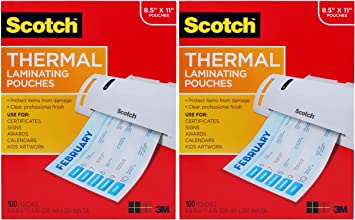 Letter Size Sheets , 8.9 x 11.4 inches 100-Pack Scotch Thermal Laminating Pouches 1 Pack TP3854-100