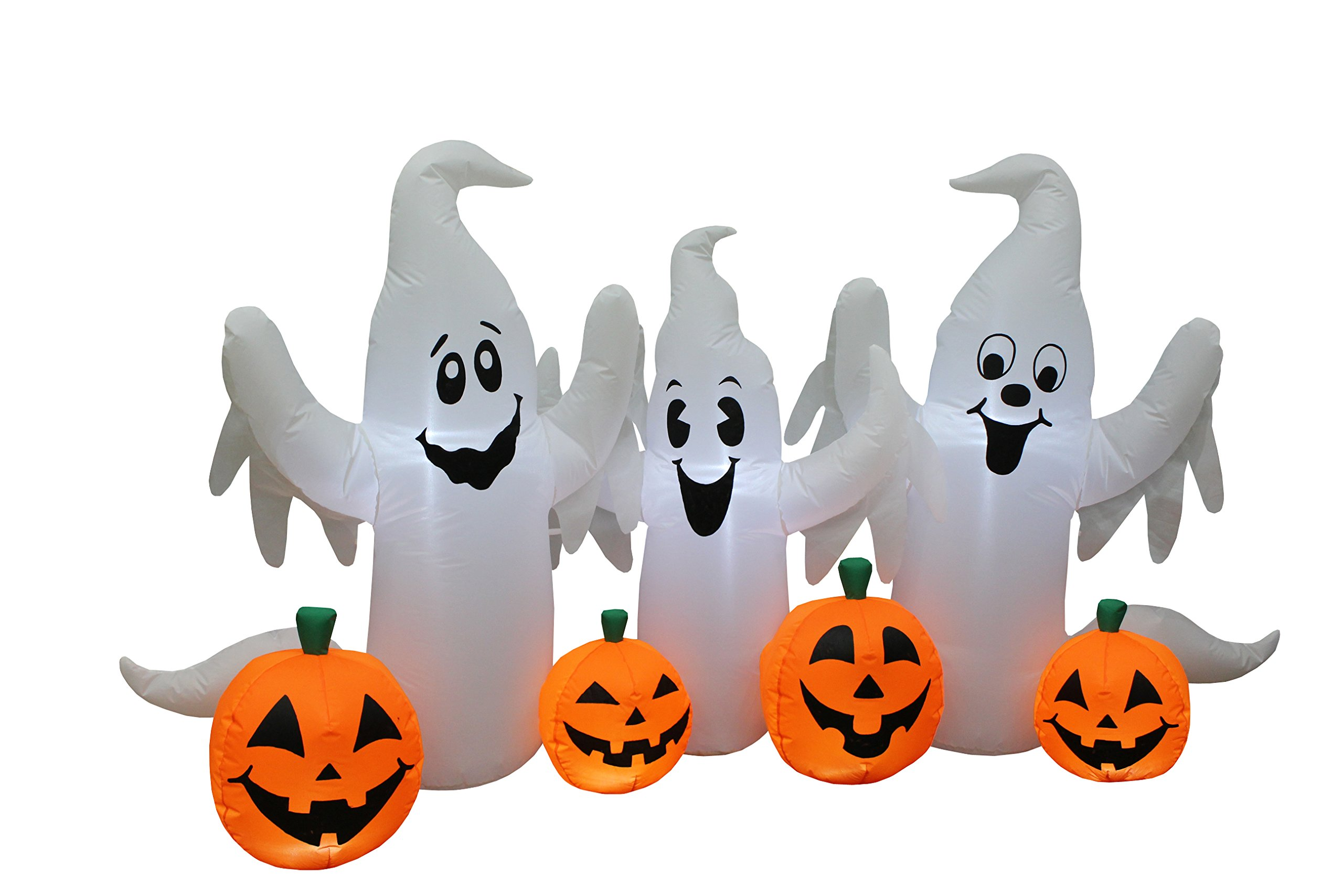 6 Foot Long Lighted Halloween Inflatable Three Ghosts with Pumpkins ...