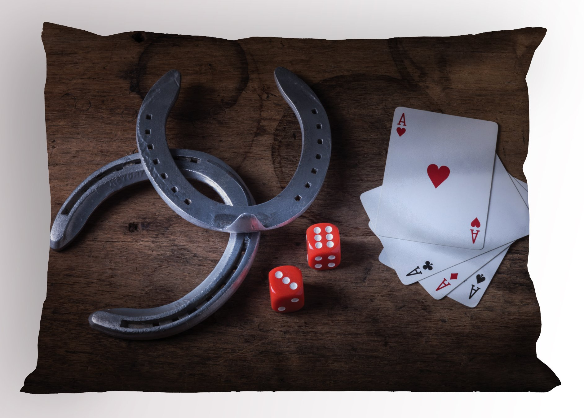 Ambesonne Western Pillow Sham, Horseshoes Lucky Card Game Dice Ace of Hearts Number Nine Poker Print, Decorative Standard King Size Printed Pillowcase, 36 X 20 inches, White Red Grey Brown