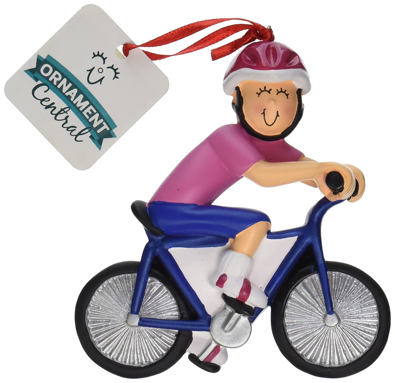 amazoncom ornament central oc 123 f female bicycle rider figurine home kitchen - Bicycle Christmas Ornament
