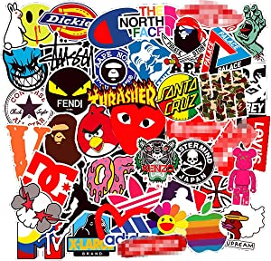 Kids Gift 100Pack Logo Brand Stickers Set Random Sticker Decals for Water Bottle Laptop Cellphone Bicycle Motorcycle Car Bumper Luggage Travel Case. Etc (Logo)
