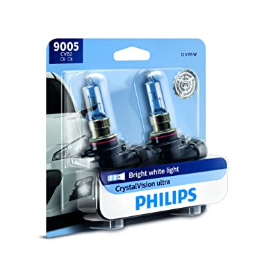 Philips 9005 CrystalVision Ultra Upgrade Bright White Headlight Bulb, 2 Count: Automotive