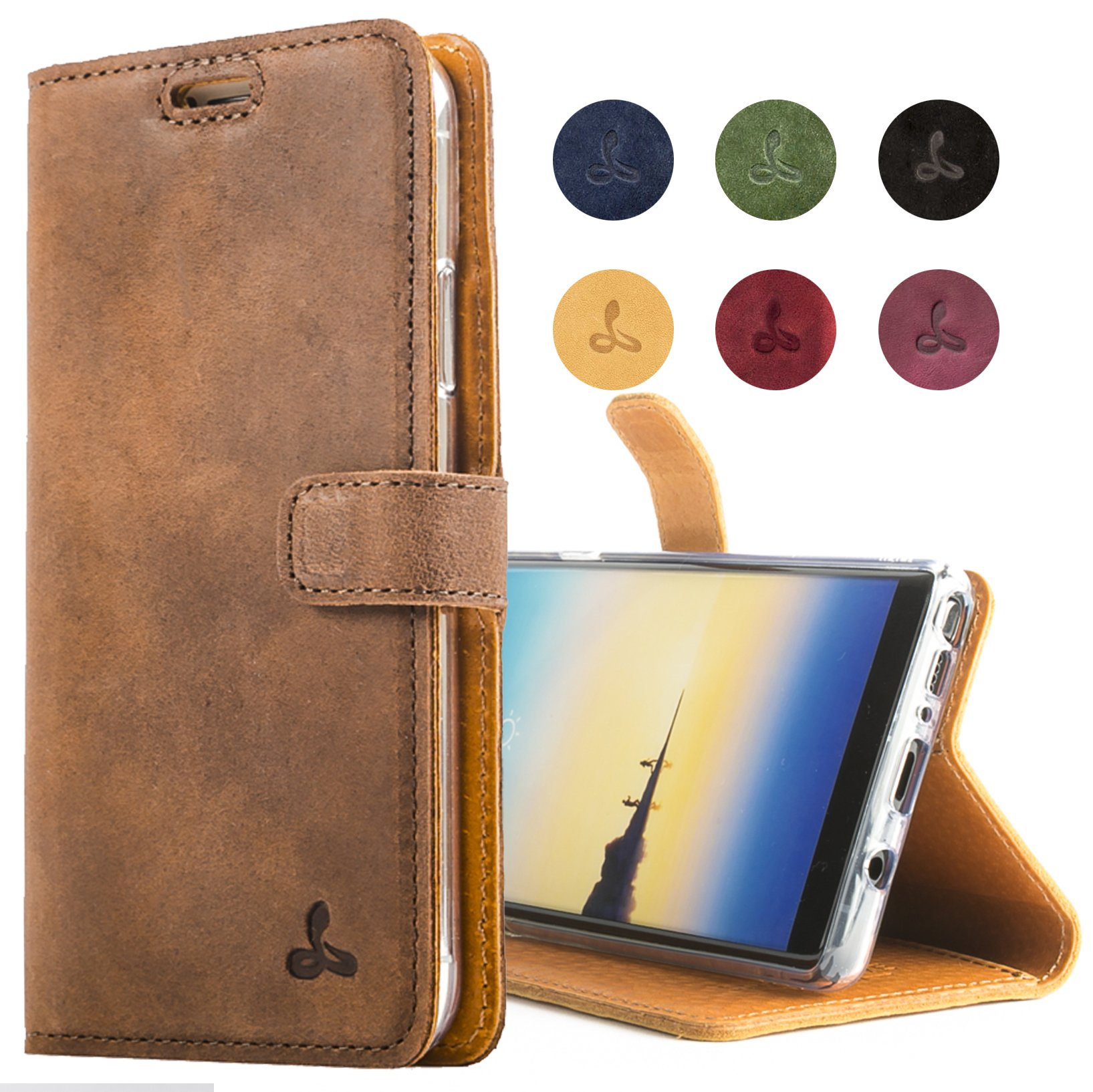 Samsung Galaxy Note 8 Case, Snakehive Genuine Leather Wallet with Viewing Stand and Card Slots, Flip Cover Gift Boxed and Handmade in Europe by Snakehive for Samsung Galaxy Note 8 - Brown by Snakehive