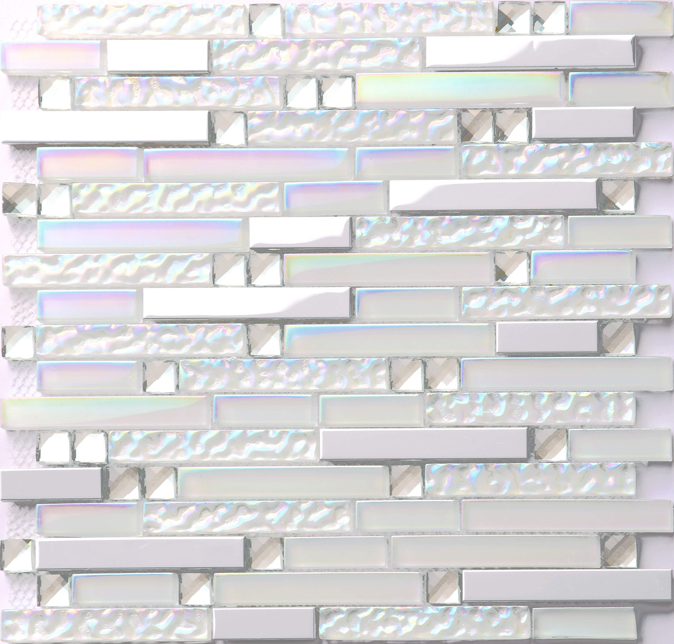 Hominter 11-Sheets Iridescent Glass Tile Backsplash, Silver Stainless Steel Metal Mosaic Tile, Rhinestone Crystal Bathroom and Kitchen Tiles NB01 by Hominter