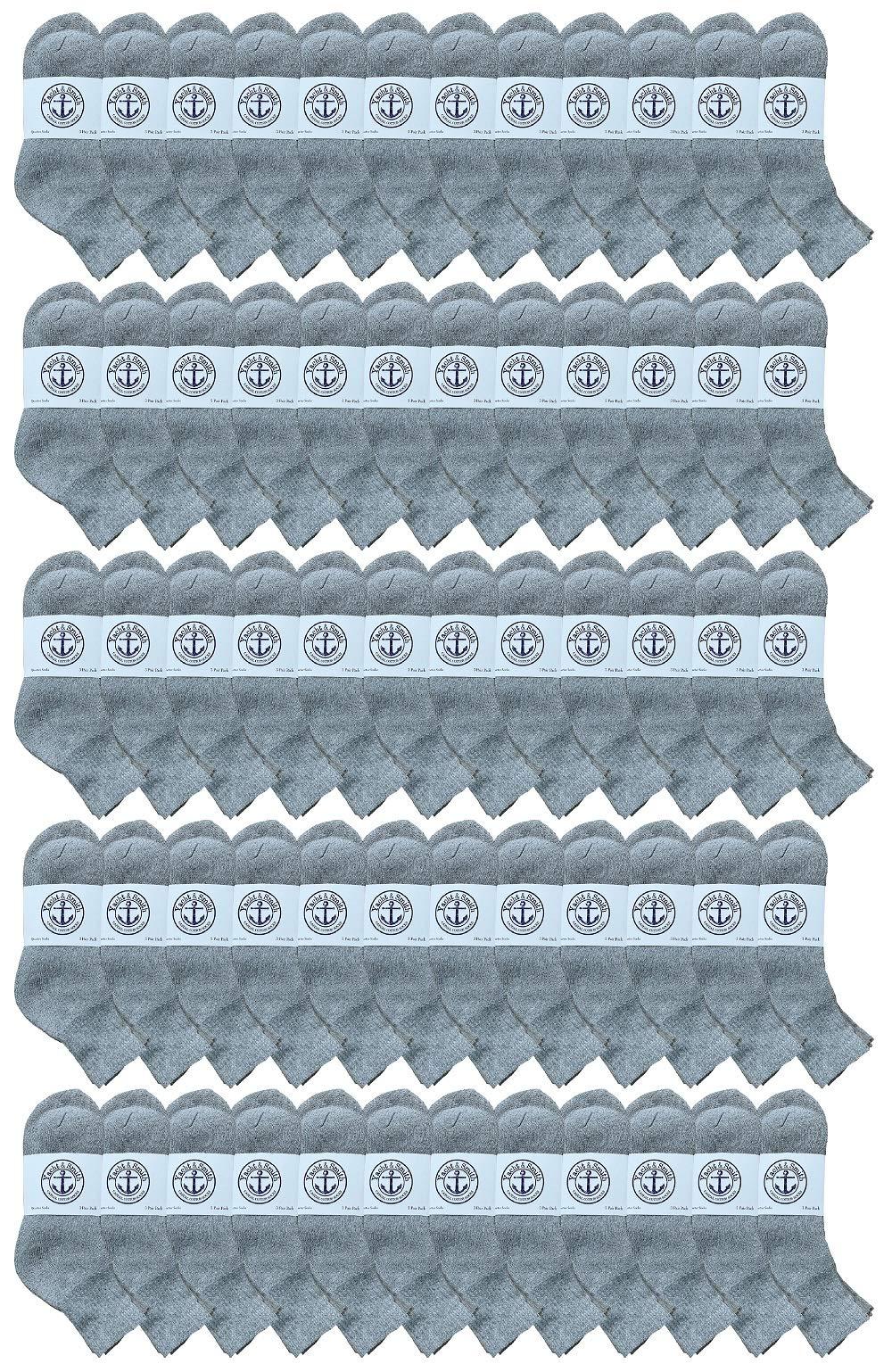 SOCKS'NBULK 60 Pairs Wholesale Bulk Sport Cotton Unisex Crew Socks, Ankle Socks, Value Deal (Womens Gray Ankle) by SOCKS'NBULK