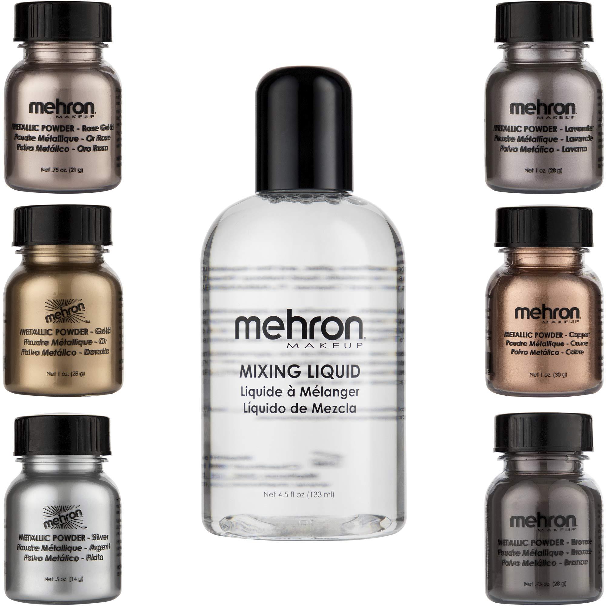 Mehron Makeup Holiday Shimmer Gift Set (6 Metallic Powders) (Mixing Liquid Included)