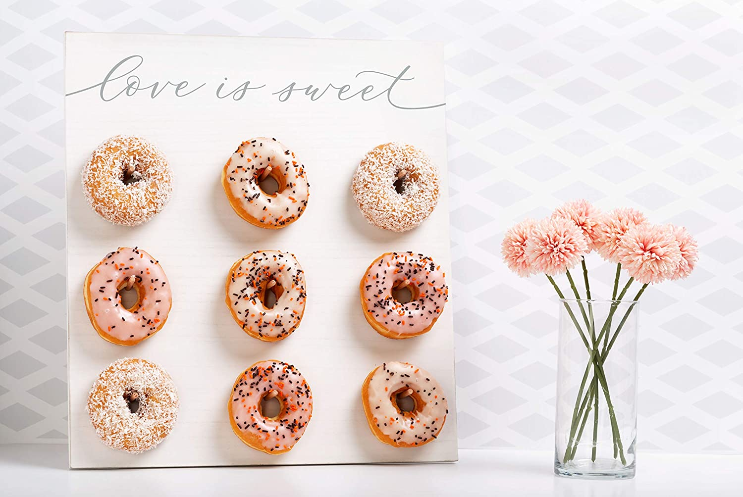 Wedding D/écor Stand for Wedding Party Rustic Wedding Distressed Bridal Shower or Engagement Pearhead Love is Sweet Donut Wall Wedding Display Stand and Pegs