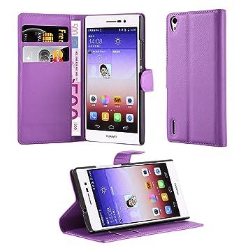 Cadorabo Carcasa para Huawei P7 móvil en Manganeso púrpura Funda con Tarjetero y función Atril Case Cover Carcasa Funda Book Style Manganeso de ...