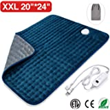 """Veken Electric Heating Pad with Fast-Heating Technology, Moist Dry Heat, Auto-Off and Machine Washable, XXL Ultra-Soft Heat Therapy Pad for Cramps/Back/Knee/Neck and Shoulders(20"""" x 24"""", Blue)"""