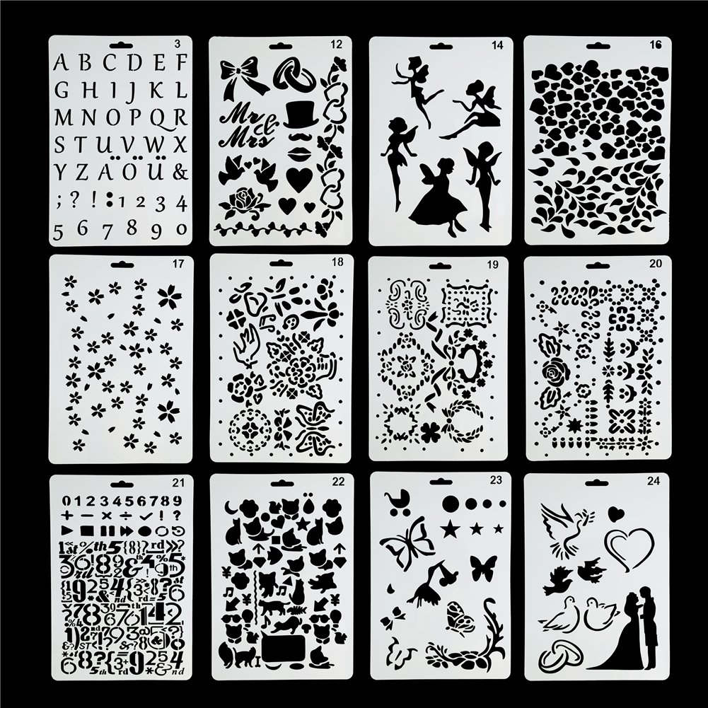 Kitamp Plastic Stencils Templates Set for Airbrush Painting and Crafts, Set of 24 4336894077