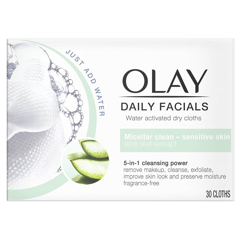 Olay Daily Facials - Paños secos 5 en 1 con activación de agua - Micellar Clean para piel sensible con extracto de hoja de aloe vera - Pack de 6: Amazon.es: ...