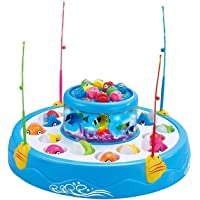 WISHKEY Fish Catching Game Toy Set with Magnetic Fish , Fishing Rod Stick , Music and Lights for Kids